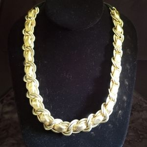 Cara Gold Chain Leather Necklace